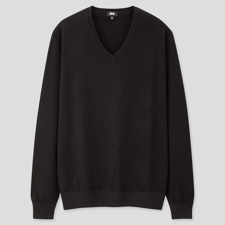 Men Supima Cotton V-Neck Long-Sleeve Sweater, Black, Large