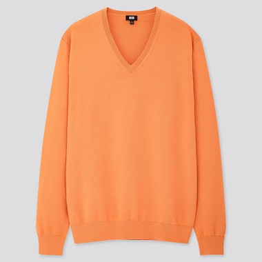 Men Supima© Cotton V-Neck Long-Sleeve Sweater, Orange, Medium