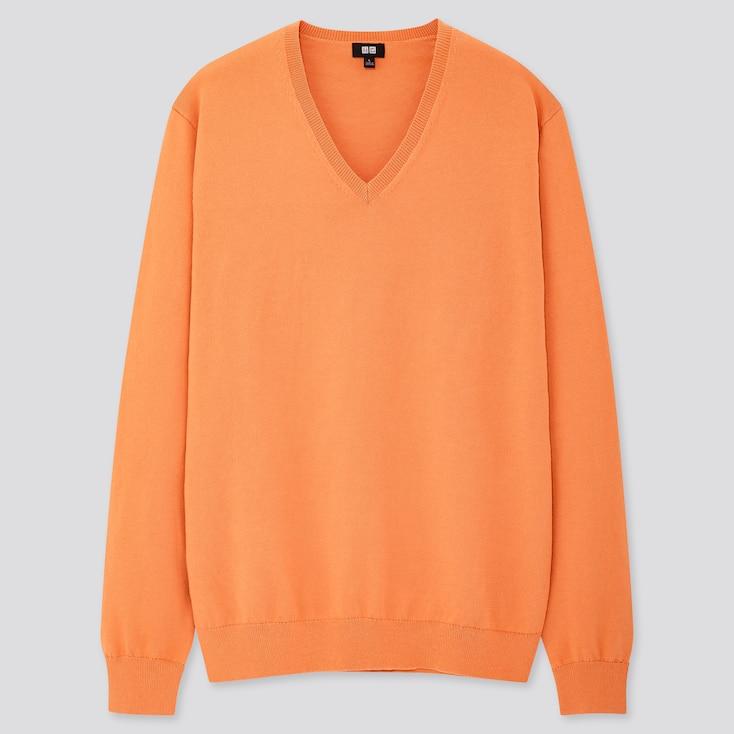Men Supima© Cotton V-Neck Long-Sleeve Sweater, Orange, Large