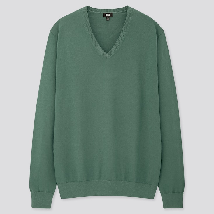 Men Supima© Cotton V-Neck Long-Sleeve Sweater, Green, Large