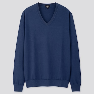 Men Supima© Cotton V-Neck Long-Sleeve Sweater, Blue, Medium