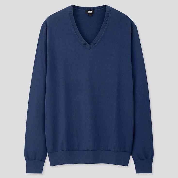 Men Supima® Cotton V-Neck Long-Sleeve Sweater, Blue, Large