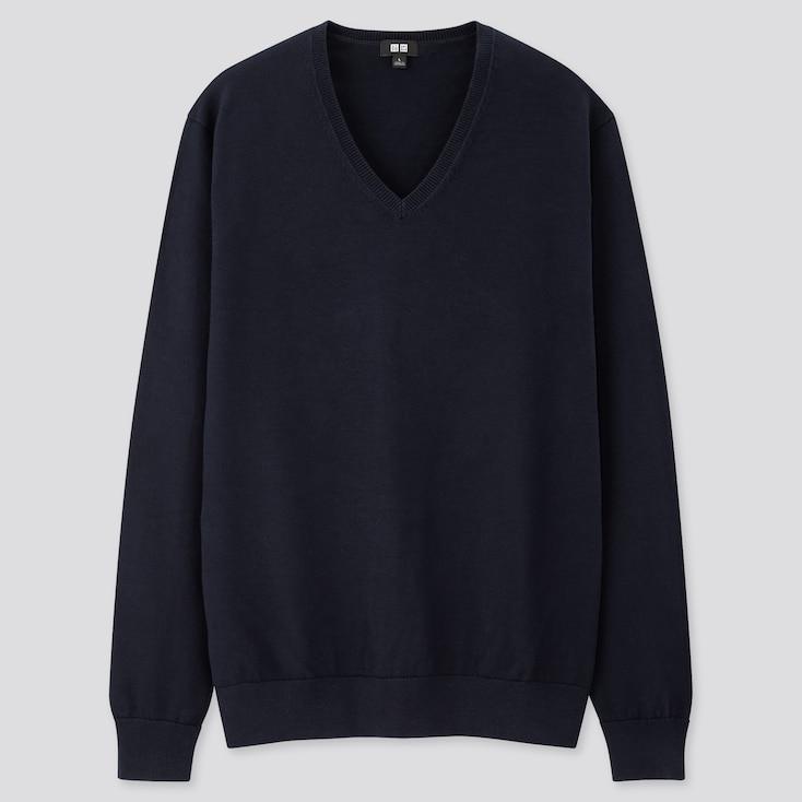 Men Supima® Cotton V-Neck Long-Sleeve Sweater, Navy, Large
