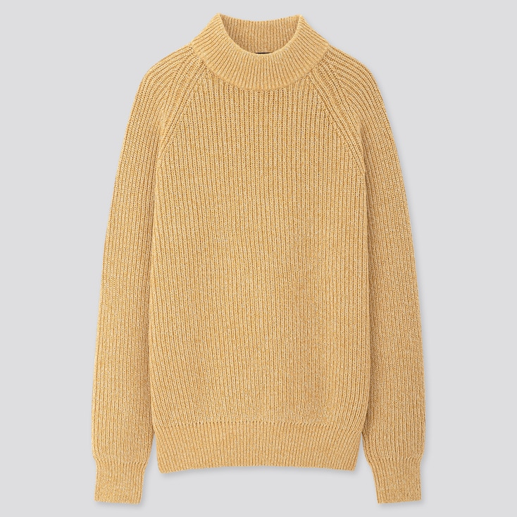 Men Middle Gauge High-Neck Long-Sleeve Sweater, Yellow, Large