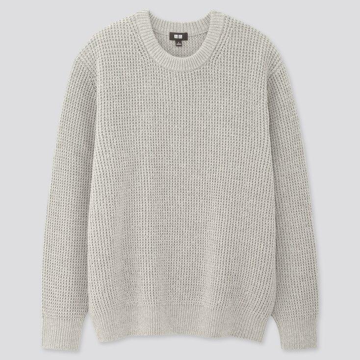 Men Middle Gauge Crew Neck Long-Sleeve Sweater, Gray, Large