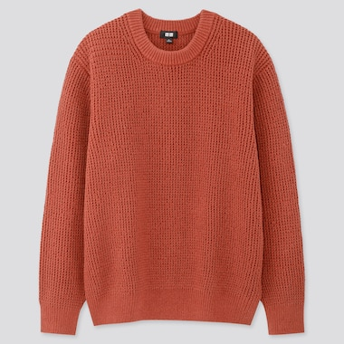 Men Middle Gauge Crew Neck Long-Sleeve Sweater, Dark Orange, Medium