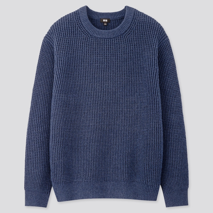 Men Middle Gauge Crew Neck Long-Sleeve Sweater, Blue, Large
