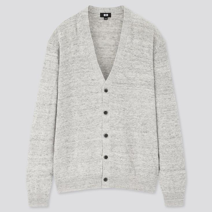 Men Linen Blended V-Neck Long-Sleeve Cardigan, Light Gray, Large