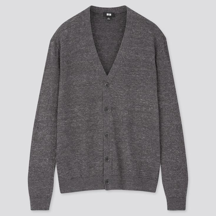 Men Linen Blended V-Neck Long-Sleeve Cardigan, Gray, Large