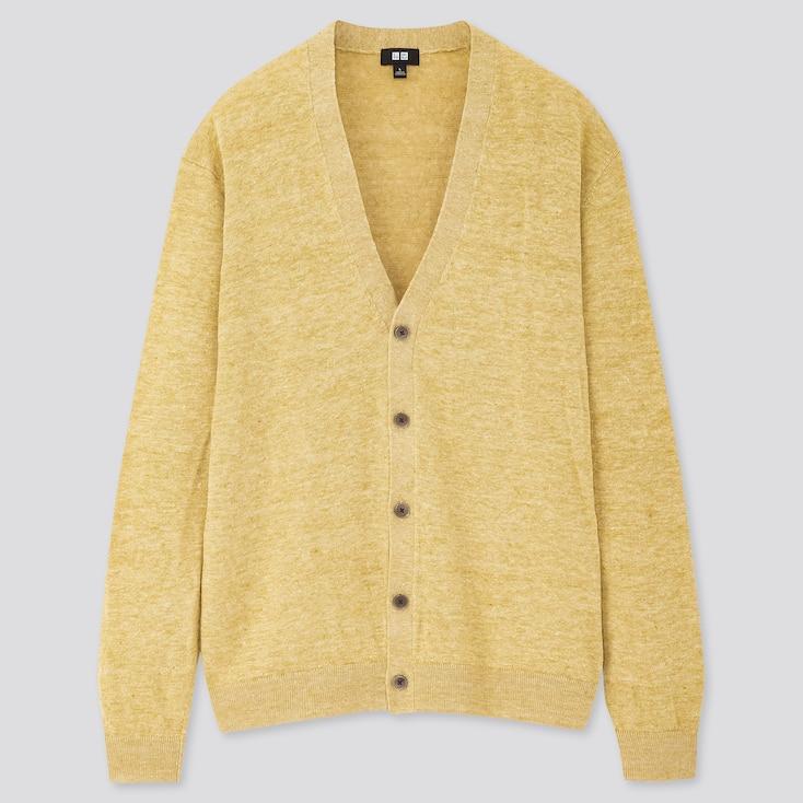 Men Linen Blended V-Neck Long-Sleeve Cardigan, Yellow, Large