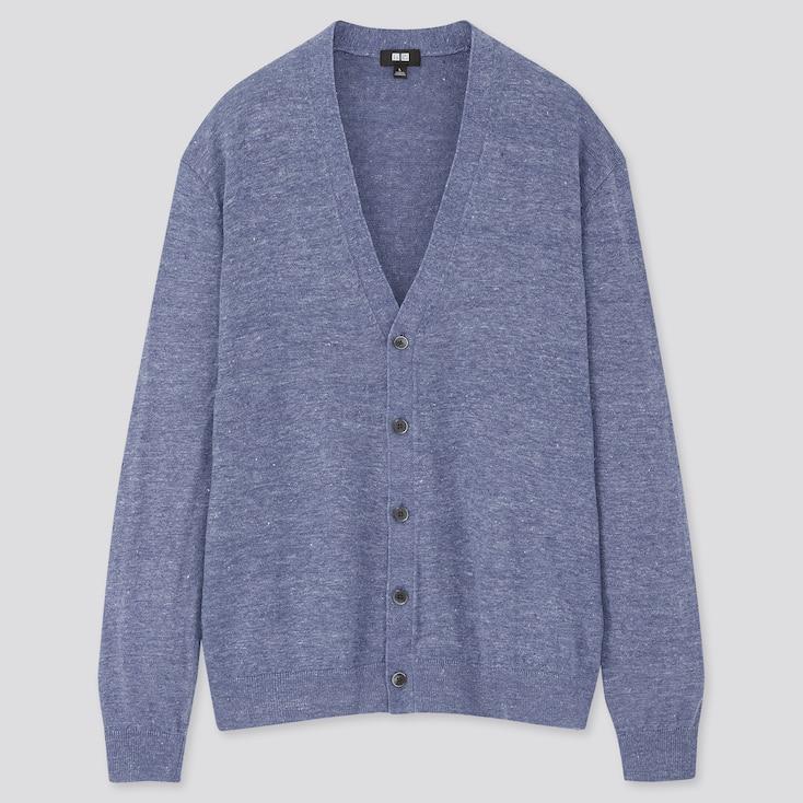 Men Linen Blended V-Neck Long-Sleeve Cardigan, Blue, Large