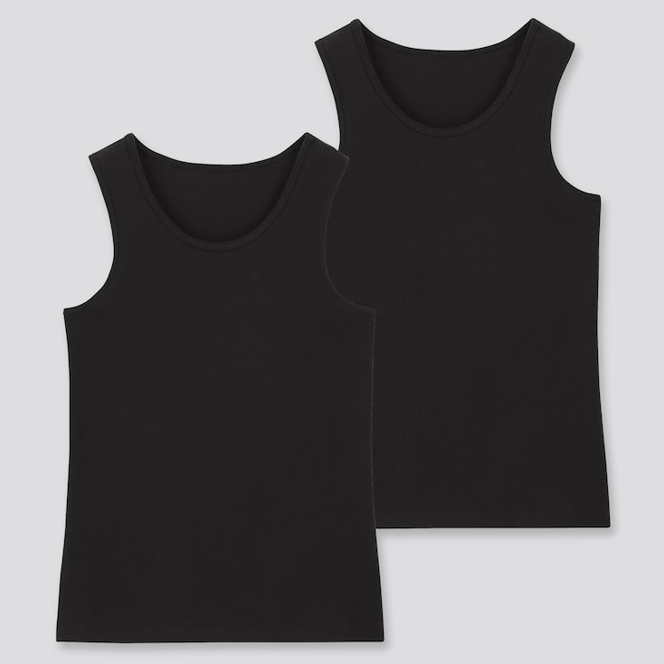 Kids Cotton Inner Tank Top (Set Of 2), Black, Large