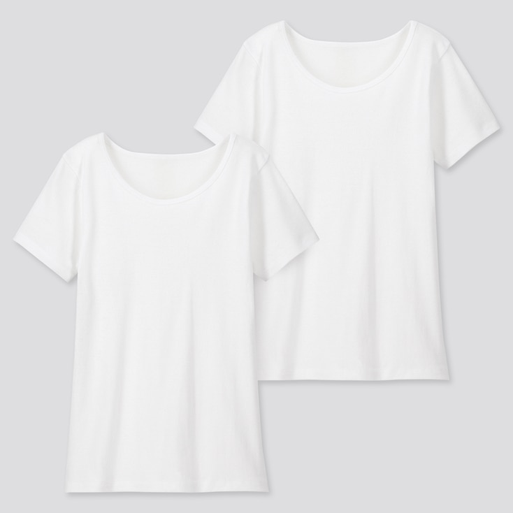 Kids Cotton Inner Scoop Neck (Set Of 2), White, Large
