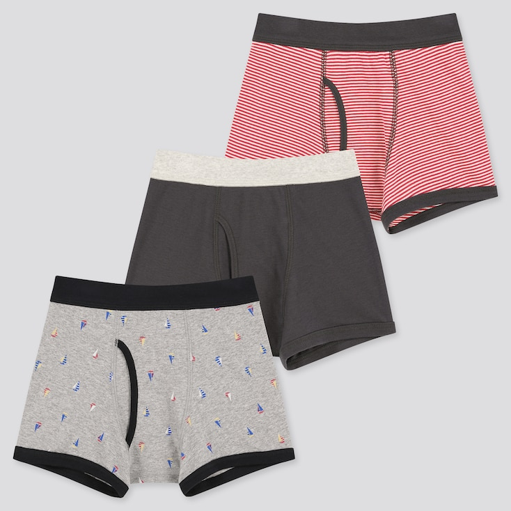 Boys Boxer Briefs (Set Of 3), Gray, Large
