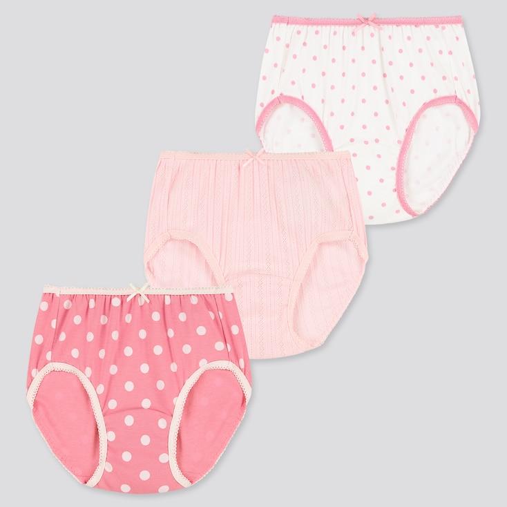 Girls Briefs (Set Of 3), Pink, Large