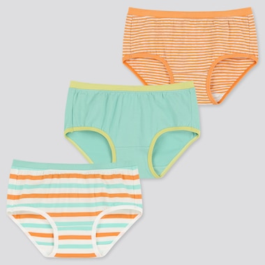 Girls Briefs (Set Of 3), Green, Medium