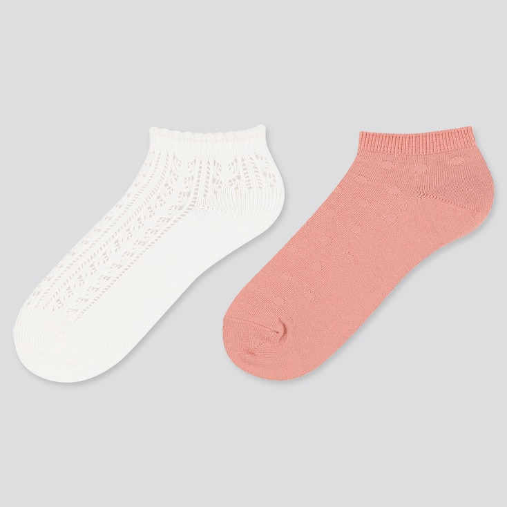 Girls Short Socks (2 Pairs), Off White, Large