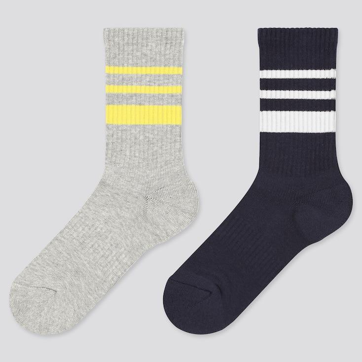 Girls Regular Socks (2 Pairs), Gray, Large