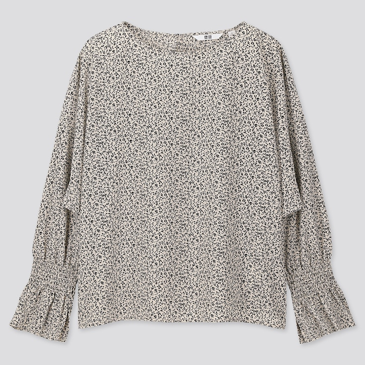 WOMEN PRINTED VOLUME LONG-SLEEVE BLOUSE, OFF WHITE, large