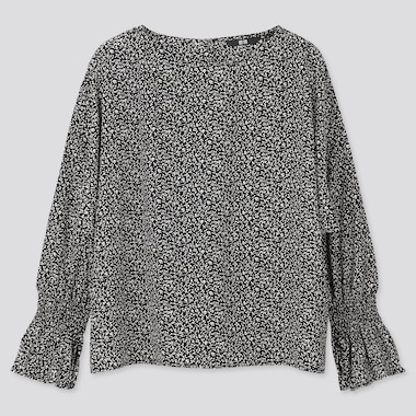 WOMEN PRINTED VOLUME LONG-SLEEVE BLOUSE, BLACK, medium