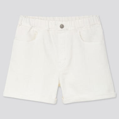Girls Denim Shorts, Off White, Medium
