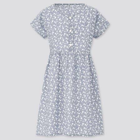 Girls Chambray Printed Short Sleeved Dress