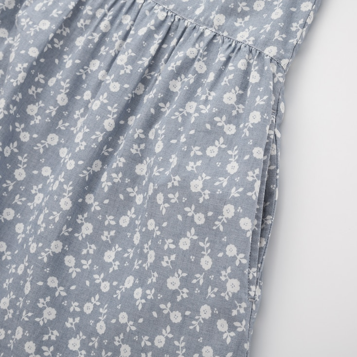 Girls Printed Chambray Short-Sleeve Dress, Blue, Large