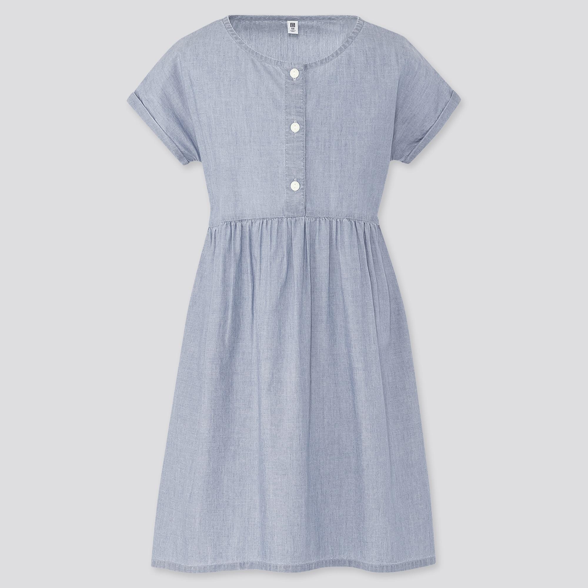 GIRLS CHAMBRAY SHORT-SLEEVE DRESS