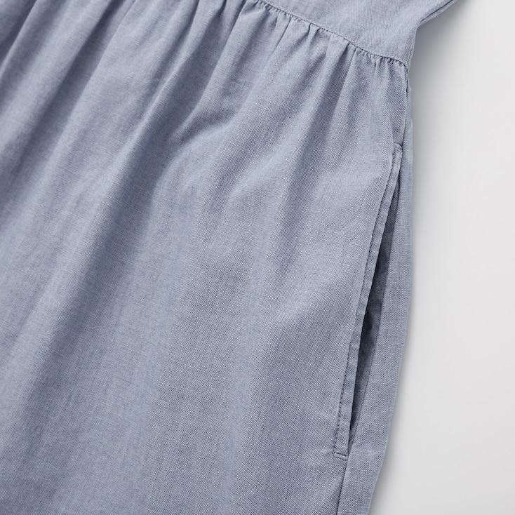 Girls Chambray Short-Sleeve Dress, Blue, Large