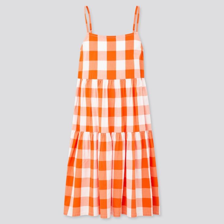 Girls Checked Camisole Dress, Orange, Large