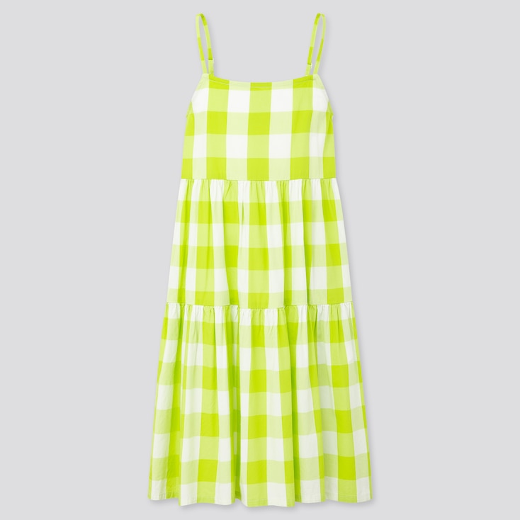 Girls Checked Camisole Dress, Green, Large
