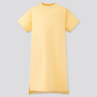 Girls Relaxed Fit Short-Sleeve T-Shirt Dress, Yellow, Medium