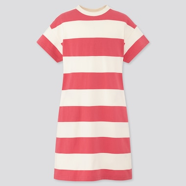 Girls Relaxed Fit Short-Sleeve Striped T-Shirt Dress, Pink, Medium