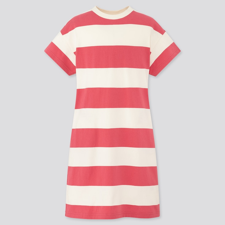 Girls Relaxed Fit Short-Sleeve Striped T-Shirt Dress, Pink, Large