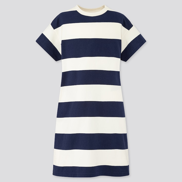 Girls Relaxed Fit Short-Sleeve Striped T-Shirt Dress, Navy, Large