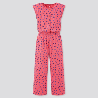 Girls Jersey Sleeveless Jumpsuit, Pink, Medium
