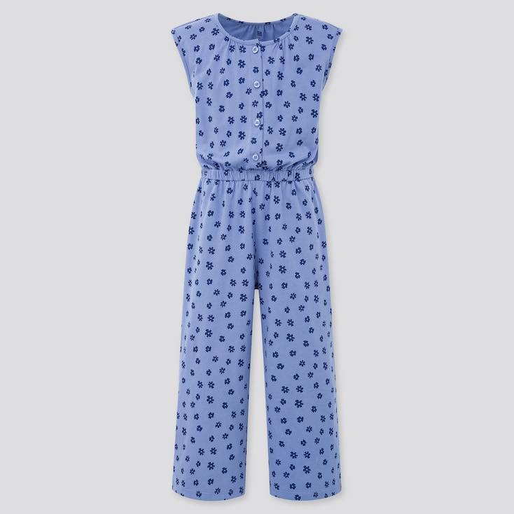 Girls Jersey Sleeveless Jumpsuit, Blue, Large