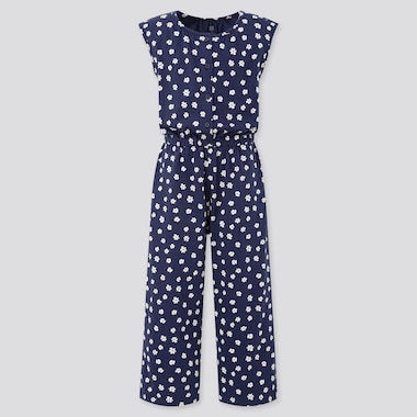 Girls Jersey Sleeveless Jumpsuit, Navy, Medium