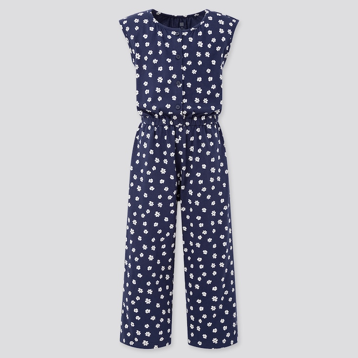 Girls Jersey Sleeveless Jumpsuit (Online Exclusive), Navy, Large