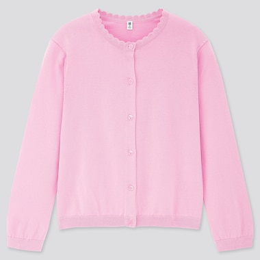 Girls Uv Protection Supima® Cotton Crew Neck Cardigan, Pink, Medium