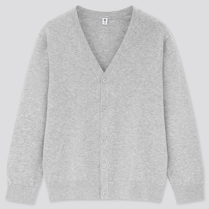 Kids Supima Cotton Uv Protection V-Neck Cardigan, Gray, Large