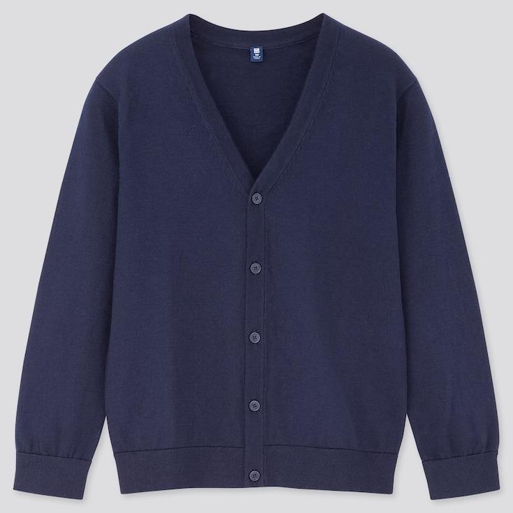 Kids Supima® Cotton Uv Protection V-Neck Cardigan, Navy, Large