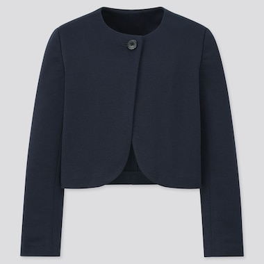 Girls Collarless Jacket (Online Exclusive), Navy, Medium