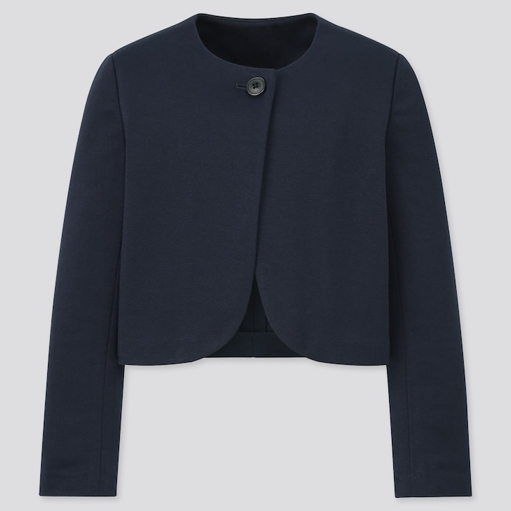 Girls Collarless Jacket (Online Exclusive), Navy, Large