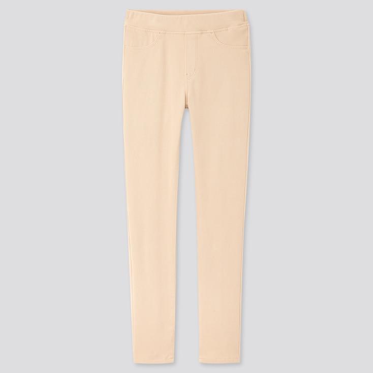 Girls Ultra Stretch Leggings Pants, Natural, Large