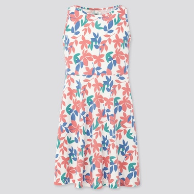 Girls Printed Jersey Sleeveless Dress (Online Exclusive), Off White, Medium