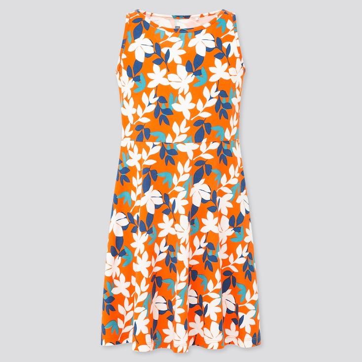 Girls Printed Jersey Sleeveless Dress, Orange, Large