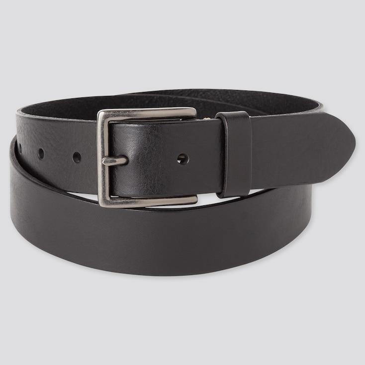 Men Italian Leather Vintage Belt, Black, Large