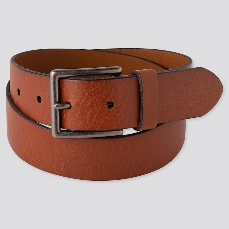 Men Italian Leather Vintage Belt, Brown, Large