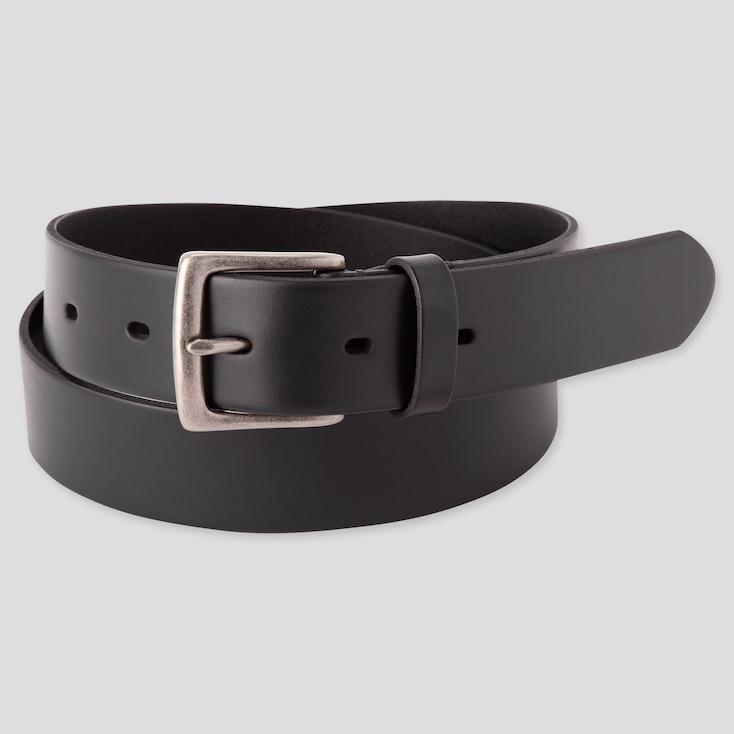 Men Italian Oiled Leather Belt, Black, Large